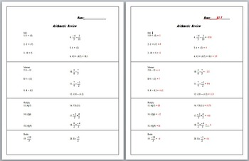 Arithmetic (operations)  Review