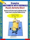 Arithmetic with decimals puzzle activity worksheet (Level 2)