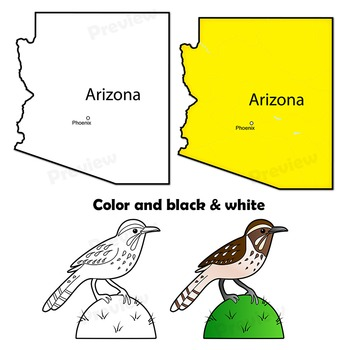 Arizona State Symbols And Map Clipart By Maps Of The World Tpt