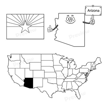 Arizona State Symbols and Map Clipart