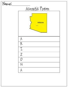 Arizona Acrostic Poem