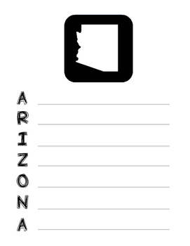 Arizona State Acrostic Poem Template, Project, Activity, Worksheet