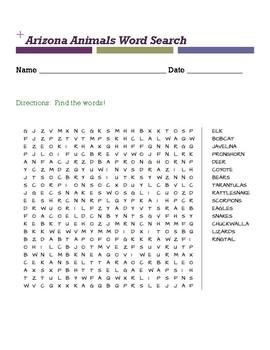 Arizona Animals Word Search