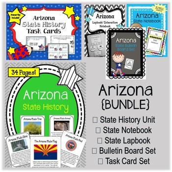 Arizona Bundle. History Unit. Bulletin Board. Notebook. Lapbook. Task Cards