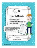 Arizona Common Core ELA Standards and RTI Checklist Fourth Grade