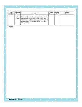 Arizona Common Core ELA Standards and RTI Checklist Second Grade