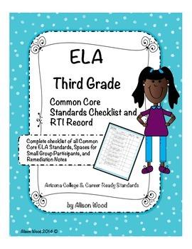 Arizona Common Core ELA Standards and RTI Checklist Third Grade