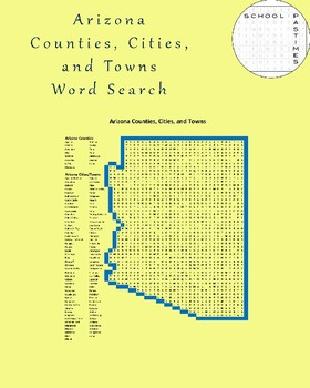 Arizona Counties, Cities, and Towns Word Search