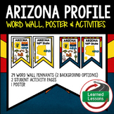 Arizona History Word Wall, State Profile, Activity Pages