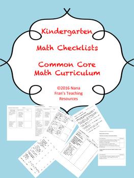 Common Core Kindergarten Math Checklists