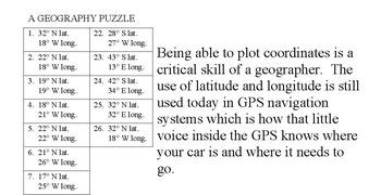 Arizona State Latitude and Longitude Coordinates Puzzle - 26 Points to Plot
