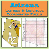 Arizona State Latitude and Longitude Coordinates Puzzle - 26 Points to Plot