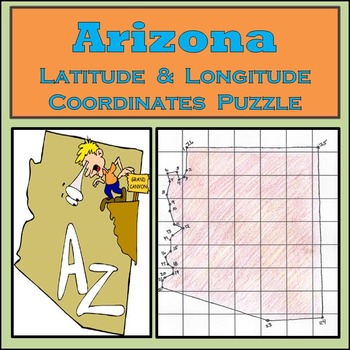 Arizona State Latitude and Longitude Coordinates Puzzle -