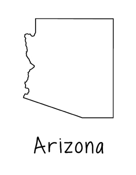 Arizona Map Coloring Page Craft - Lots of Room for Note-Taking & Creativity