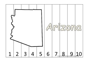 Arizona Number Sequence Puzzle.  Learn the States preschool printable game.