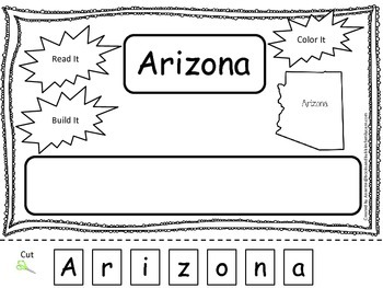 Arizona Read it, Build it, Color it Learn the States preschool worksheet.