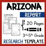 Arizona State Research Report Project Template with bonus timeline Craftivity AZ