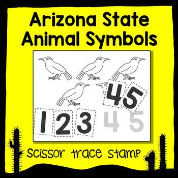 Arizona State Animal Number 1-5 Scissor Trace Stamp - An Animal Math Center