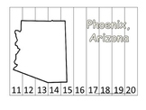Arizona State Capitol Number Sequence Puzzle 11-20.  Geography and Numbers.