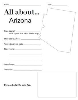 Arizona State Facts Worksheet: Elementary Version