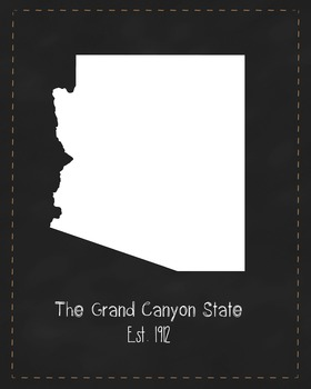 Arizona State Map Class Decor, Government, Geography, Black and White Design