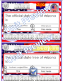 Arizona State Symbols and Question Cards (& Answers) Wordsearch PDF USA