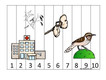 Arizona State Symbols themed 1-10 Number Sequence Puzzle Game. Preschool
