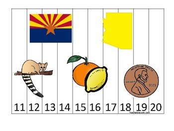 Arizona State Symbols themed 11-20 Number Sequence Puzzle Game. Preschool