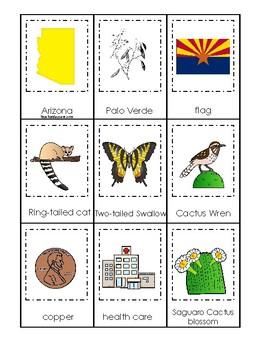 Arizona State Symbols themed 3 Part Matching Game.  Printable Preschool Game