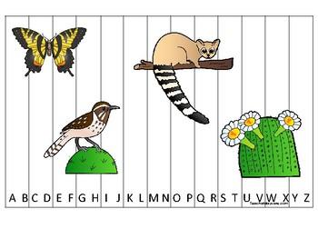 Arizona State Symbols themed Alphabet Sequence Puzzle Game.  Preschool Gam