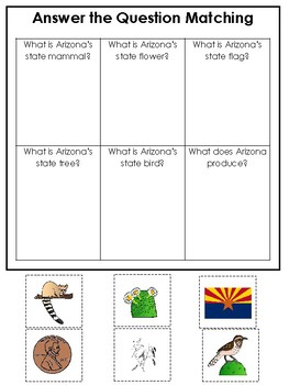 Arizona State Symbols themed Answer the Question Game. Preschool Game