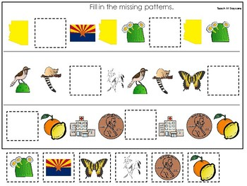 Arizona State Symbols themed Fill In the Missing Pattern Game. Preschool Game