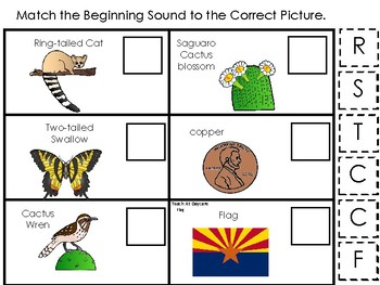 Arizona State Symbols themed Match the Beginning Sound Game. Preschool Game