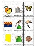 Arizona State Symbols themed Memory Match Game. Preschool Game