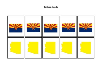 Arizona State Symbols themed Pattern Cards and Game Board. Preschool Game