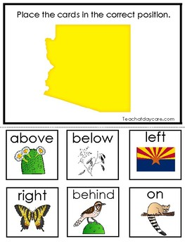 Arizona State Symbols themed Positional Word Game. Preschool Game