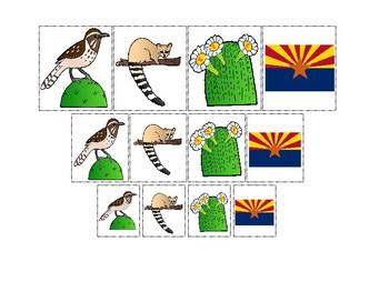 Arizona State Symbols themed Size Sorting. Printable Preschool Game.