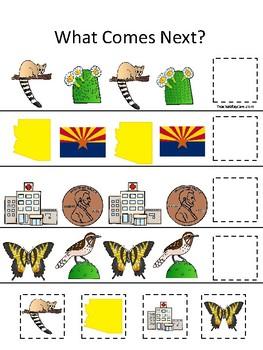 Arizona State Symbols themed What Comes Next. Printable Preschool Game