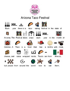 Arizona Taco Festival - picture supported text review lesson visuals questions