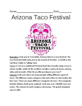 Arizona Taco Festival - review article facts information lesson questions