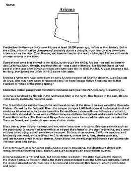 Arizona Text Evidence and Summary Assignment