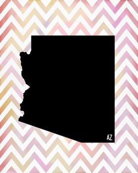 Arizona Chevron State Map Class Decor, Government, Geography