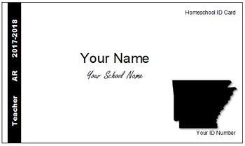 Arkansas (AR) Homeschool ID Cards for Teachers and Students
