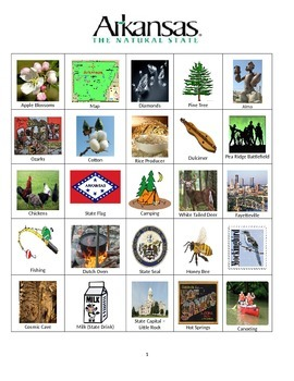 Arkansas Bingo:  State Symbols and Popular Sites