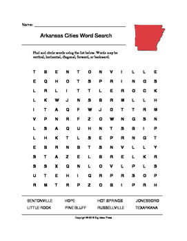Arkansas Cities Word Search (Grades 3-5)