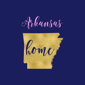 Arkansas Clipart, USA State Vector Clipart, Arkansas Home, Gold US Clipart