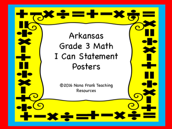 Arkansas Grade 3 Math I Can Statement Posters