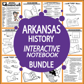 Arkansas History–Interactive Notebook Arkansas State Study Unit + AUDIO!