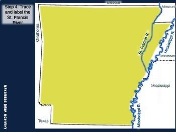 Arkansas Map Activity- fun, engaging, follow-along 20-slide PPT