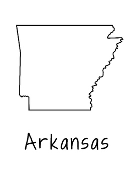 Arkansas Map Coloring Page Craft - Lots of Room for Note-T